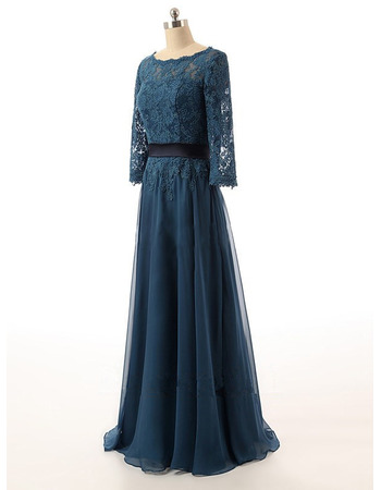 Designer Long Chiffon Organza Mother Dresses with 3/4 Long Lace Sleeves
