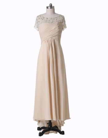 Gorgeous Beaded Bodice Pleated Chiffon Mother Dresses for Wedding Partry with Short Sleeves