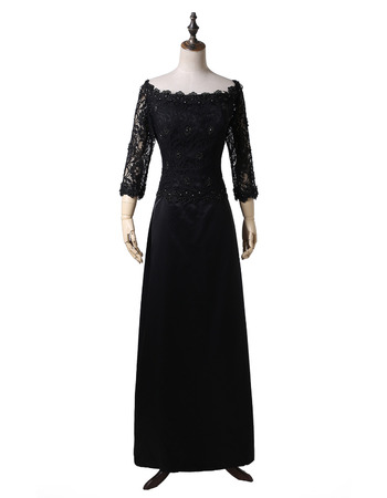 Modest Beaded Off-the-shoulder Black Satin Mother of The Bride Dresses with 3/4 Long Sleeves