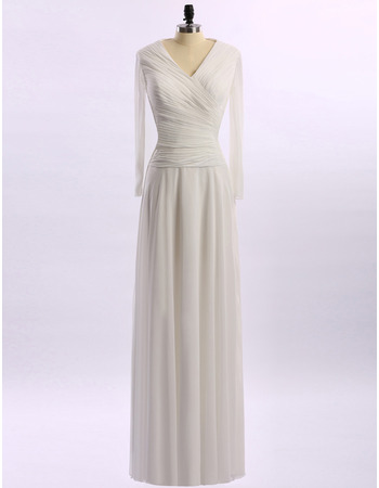 Simple V-Neck Ruched Chiffon Mother Dresses for Wedding Party with Long Sleeves