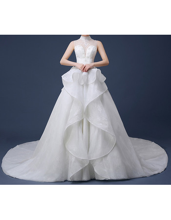 Sumptuous Ball Gown High-Neck Chapel Train Lace Wedding Dresses with Front Cascade