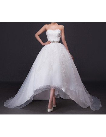 Modern Appliques Beading High-Low Organza Wedding Dress with Crystal Sashes