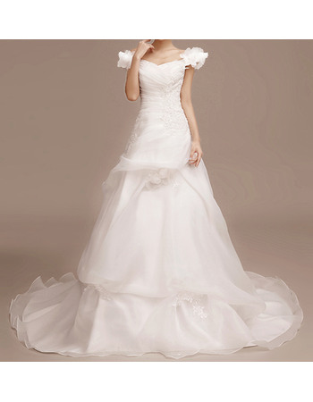 Romantic Floral Applique Off-the-shoulder Organza Wedding Dresses with Pick-up Skirt and Handmade Flowers