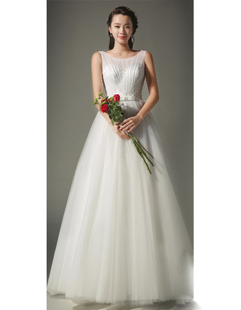New Style Elegant A-Line Bateau Neck Full Length Satin Tulle Beaded Wedding Dresses with Bowknot