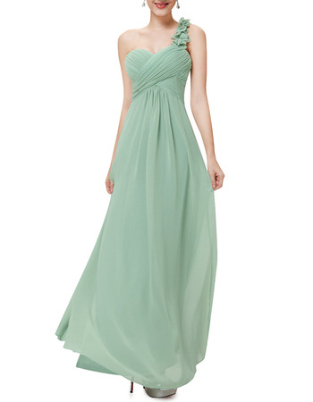 One Shoulder Sweetheart Floor Length Chiffon Bridesmaid Dresses
