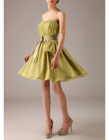 Simple Style One Shoulder Mini/ Short Chiffon Bridesmaid Dresses