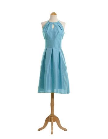 Custom Column Round/ Scoop Knee Length Taffeta Bridesmaid Dresses