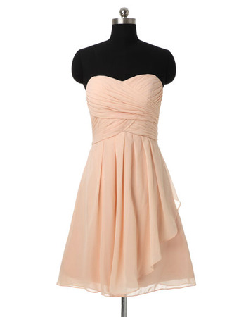 Affordable Elegant A-Line Sweetheart Short Chiffon Bridesmaid Dresses