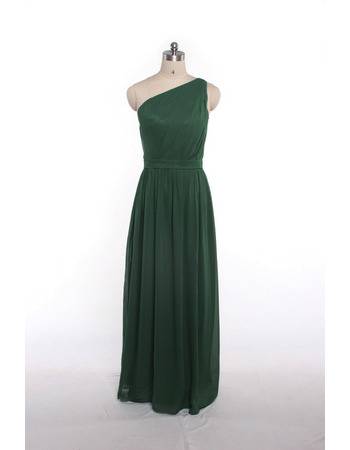 Summer One Shoulder Floor Length Chiffon Bridesmaid Dresses