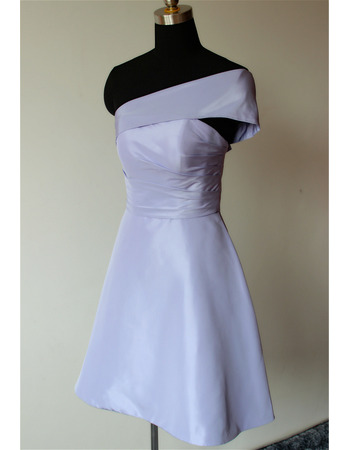 Customize One Shoulder Mini/ Short Satin Bridesmaid Dresses
