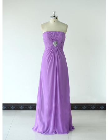Vintage Strapless Floor Length Chiffon Bridesmaid/ Wedding Party Dress
