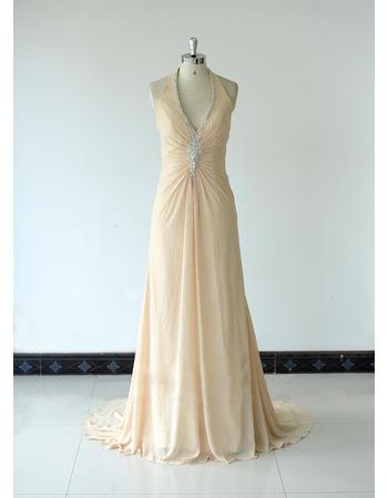 Halter V-Neck Floor Length Chiffon Bridesmaid Dresses