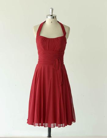 Sexy Halter Knee Length Chiffon Bridesmaid/ Wedding Party Dresses