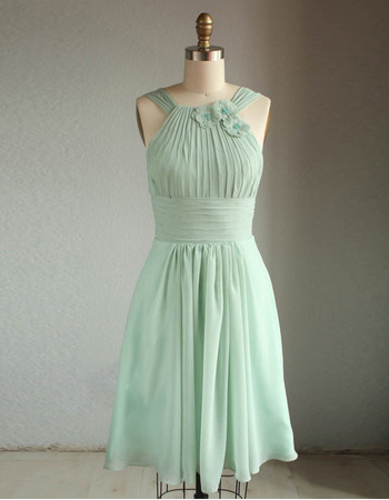 New Style Straps Knee Length Short Chiffon Bridesmaid Dresses