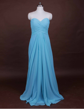 Summer Sheath Sweetheart Floor Length Chiffon Bridesmaid Dresses