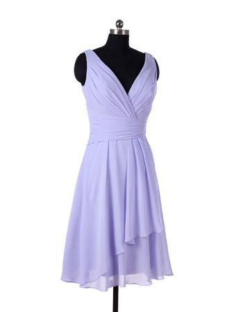 Vintage V-Neck Knee Length Chiffon Bridesmaid/ Wedding Party Dresses