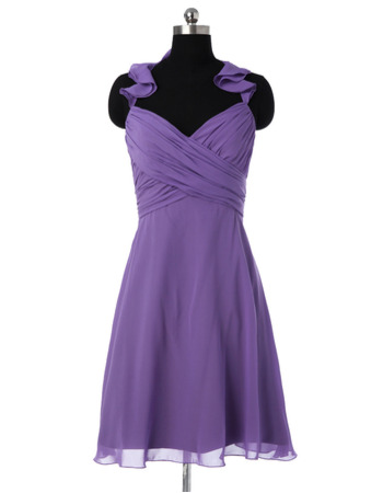 Style Halter Sweetheart Mini/ Short Chiffon Bridesmaid Dresses