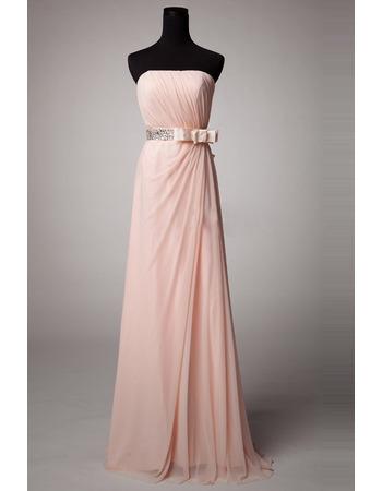 Elegant Strapless Floor Length Chiffon Bridesmaid Dresses with Bows