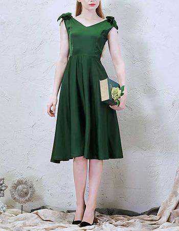 Elegant V-Neck Sleeveless Knee Length Satin Cocktail Dresses with Bows