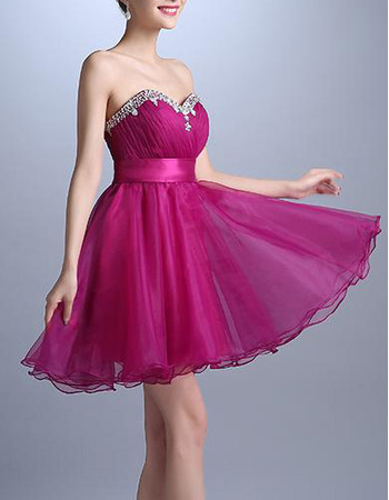 Summer A-Line Sweetheart Short Organza Lace-Up Cocktail Dresses