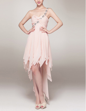 One Shoulder High-Low Chiffon Asymmetric Cocktail Dresses