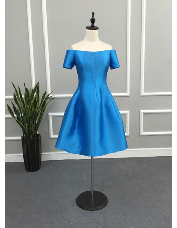 Custom Off-the-shoulder Knee Length Cocktail Dresses with Short Sleeves