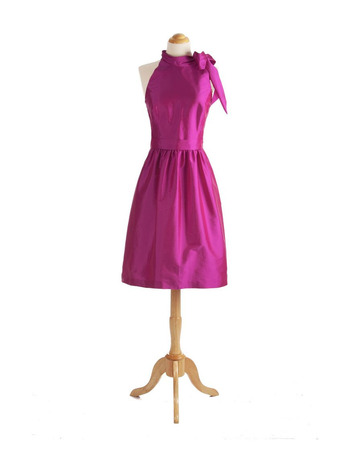 Custom Mandarin Collar Sleeveless Short Taffeta Cocktail Dresses