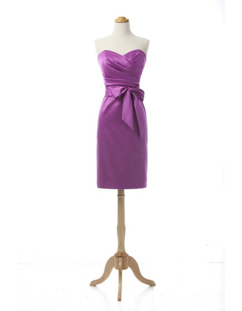 Discount Column Sweetheart Knee Length Satin Cocktail Dress with Bow