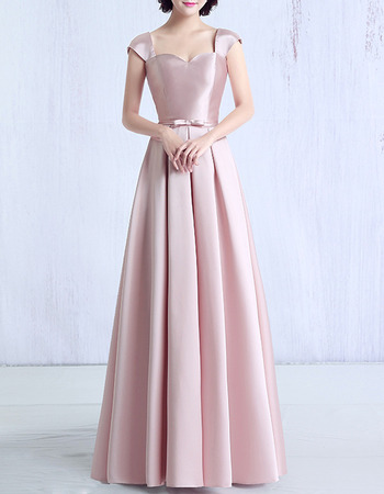 Sweetheart Cap Sleeves Long Satin Evening/ Prom Dresses