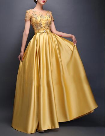 Elegant Floor Length Satin Evening/ Prom Dresses with Short Sleeves