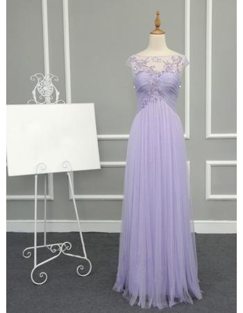 Sheath Empire Long Chiffon Tulle Evening/ Prom Dresses