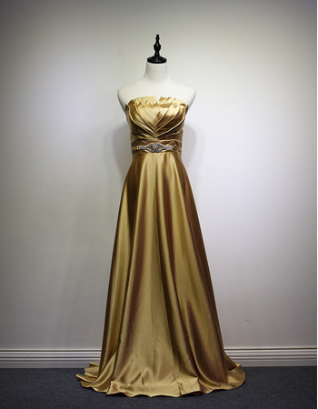 Elegant A-Line Strapless Sweep Train Satin Evening/ Prom Dresses