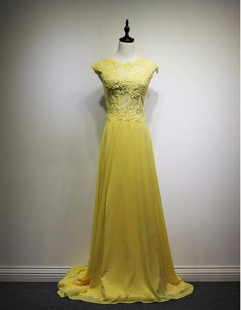 New Style Chapel Train Chiffon Evening/ Prom/ Formal Dresses
