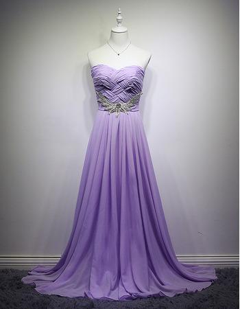Custom Sweetheart Long Chiffon Lace-Up Pleated Evening/ Prom Dresses