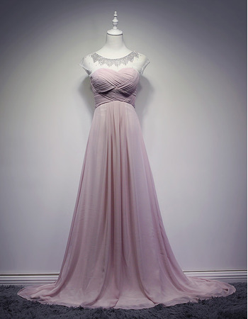 Affordable A-Line Sweep Train Chiffon Evening/ Prom/ Formal Dresses