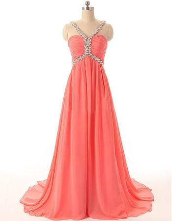 Empire V-Neck Floor Length Chiffon Evening/ Prom Dresses