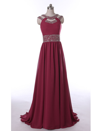 New Style Sweep Train Chiffon Evening/ Prom/ Formal Dresses