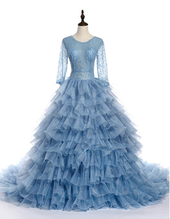 Elegant Ball Gown Layered Skirt Beaded Evening Dress with Long Sleeves