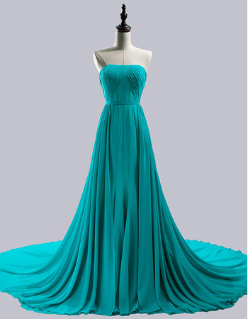 Strapless Chapel Train Chiffon Evening/ Prom/ Formal Dresses