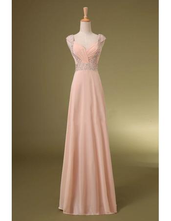 Elegant Sweetheart Floor Length Chiffon Evening Dresses with Straps