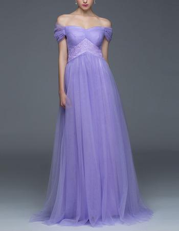 Discount Off-the-shoulder Cap Sleeves Long Chiffon Evening Dresses