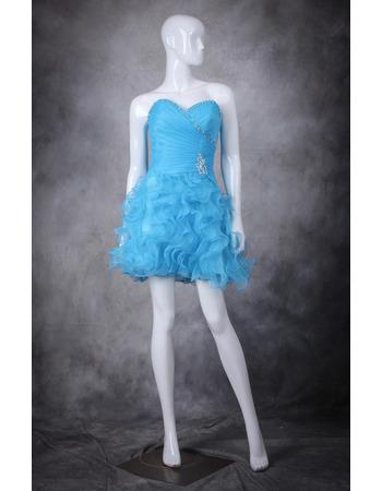 Affordable Sheath Sweetheart Short Ruffle Skirt Homecoming Dresses