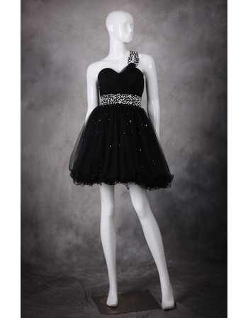 Cute A-Line One Shoulder Short Organza Black Homecoming Dresses