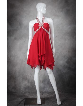 Custom Empire Halter Sleeveless Short Chiffon Homecoming Dresses