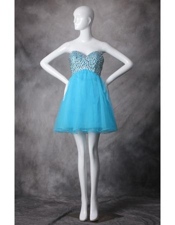 Discount A-Line Sweetheart Mini/ Short Organza Homecoming Dresses