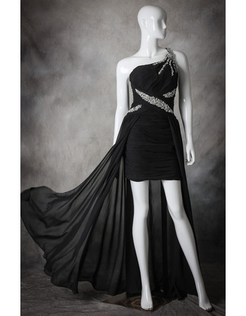 Sexy One Shoulder High-Low Asymmetric Chiffon Black Homecoming Dresses