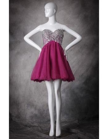 Sweetheart Short Organza Rhinestone Homecoming Dresses