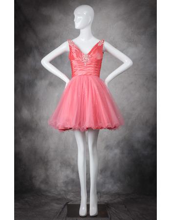 Custom A-Line V-Neck Short/ Mini Taffeta Organza Homecoming Dresses