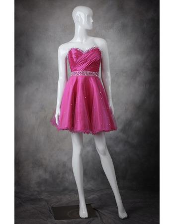 A-Line Sweetheart Short Taffeta Organza Homecoming Dresses