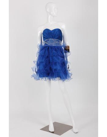 Sweetheart Short Satin Organza Homecoming Dresses